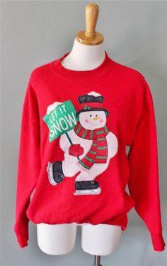 Ugly Christmas Sweater Women Men L sweatshirt iron on Let It Snow snowman CS14 #na #Crewneck