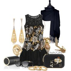 """""""Black & Gold"""" by momfor2girls on Polyvore"""