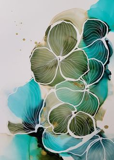 White pen flower illustrations by danish artist Julie Hansen Alcohol Ink Crafts, Alcohol Ink Painting, Alcohol Ink Art, Watercolor And Ink, Watercolor Paintings, Ink Doodles, Organic Art, Colorful Abstract Art, Fine Art Prints
