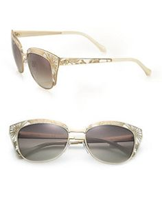 Roberto Cavalli - 54MM Printed Leather & Metal Cat's-Eye Sunglasses
