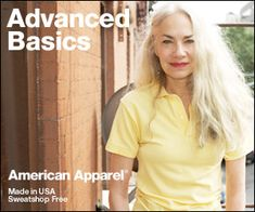 """American Apparel's latest campaign surprised everyone by casting an """"advanced"""" model, Jacky O'Shaughnessy (61), as the face of their """"advanced basics"""" line."""