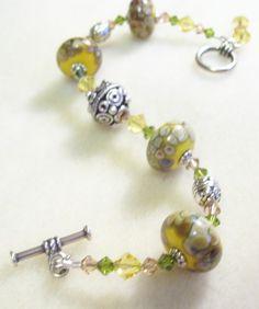 Sunny  Yellow Raku Lampwork Glass Crystal Bead Bracelet