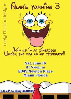 Sponge Bob Birthday Invitation by MelyDLozano on Etsy, $15.00