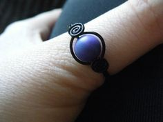 Purple and Black Wire Wrapped Ring  Magnesite  by JbellsGems, $6.00