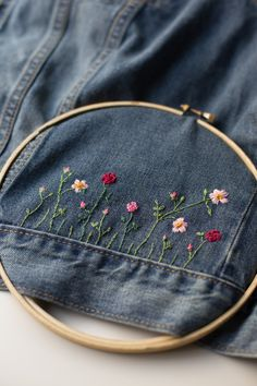 DIY Embroidered Embellished Jean Jacket by Anne Weil of Flax Twine