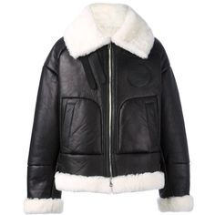 Juun.J shearling bomber jacket ($3,920) ❤ liked on Polyvore featuring men's fashion, men's clothing, men's outerwear, men's jackets, jackets, black, mens shearling jacket and mens shearling bomber jacket