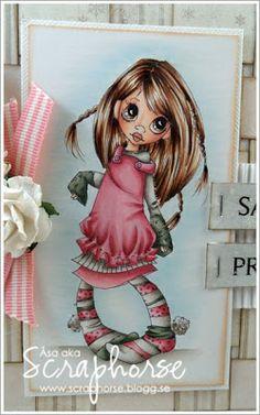 Copic Marker Europe: One Sassy PrincessSkin/ E13-11-00-000 Cheeks R22-11 Hair, Eyes/: E29-25-21 Pink: R85-83-81 Dark green/: G99-95-21 Light green/: G24-21-20 Grey, Shadows/ W5-3-1-0 Sky/: BG000 Blender...