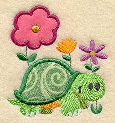 Turtle and Flowers (Applique) design (Y3260) from www.Emblibrary.com