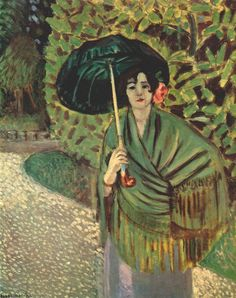 """fashioninpaintings: """"Woman with Green Umbrella by Henri Matisse, c. 1920 """""""