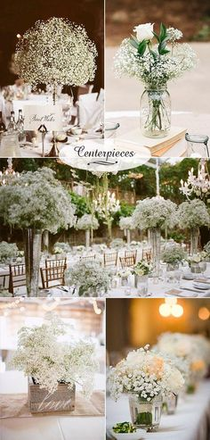 Baby's Breath Wedding Decor Ideas: Classy and Romantic Baby's breath wedding decor. Budget-friendly white and original wedding centerpieces. Budget-friendly white and original wedding centerpieces. Wedding 2017, Wedding Table, Diy Wedding, Rustic Wedding, Wedding Reception, Dream Wedding, Trendy Wedding, Decor Wedding, Reception Ideas