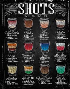 For the bar - Chalkboard Print -Kitchen Art-Chalkboard Alcohol Beverage -Shots Menu-Bar-Shots Recipes-Drinks-Cocktails Recipes Print 8 x ERLOOD Shots Menu Retro Vintage Bar Metal Tin Sign Poster Ptyle Wall Art Pub Bar Decor 12 X Home & Kitchen *Click imag Menu Bar, Bar Shots, Shots Drinks, Liquor Shots, Liquor Drinks, Whiskey Drinks, Rum Cream, Alcohol Drink Recipes, Alcohol Shots