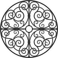 Faux Wrought iron Ceiling medallion. Would work great in the rectangular windows as well.