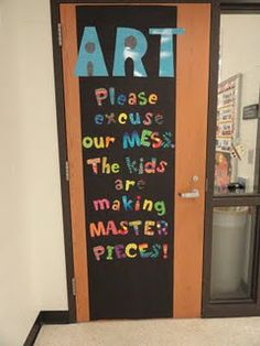 on an art classroom door.but would work for my room, too! on an art classroom door.but would wor Art Classroom Door, Classroom Displays, Classroom Ideas, Music Classroom, Future Classroom, Classroom Organization, Art Lessons Elementary, Elementary Music, Middle School Art