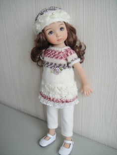 """Handknitted Tunic and Hat for Little Darling 13"""" or Helen Kish 14"""" or Patsy 10"""""""