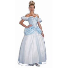 #64078 The Story Book Princess Cinderella Costume includes a beautiful character dress with sheer glitter puff off shoulder sleeves, a blue velvet bodice, and a blue skirt with a sheer overlay and fli