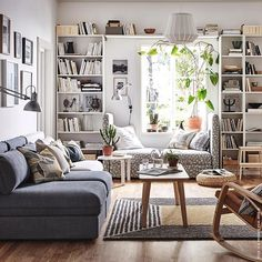 cozy small living room decor ideas for your apartment 26 ~ mantulgan.me : cozy small living room decor ideas for your apartment 26 ~ mantulgan. Ikea Billy Bookcase White, Billy Ikea, Billy Bookcases, Ikea Bookcase, White Bookshelves, White Shelves, Ikea Living Room, Small Apartment Living, Living Room Bookshelves