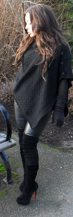 Cashmere poncho/cape by Vince, faux leather pants, gloves by Michael Kors, Christian Louboutin gazolina suede thigh high boots, chanel pst tote. Www.nicolecourchaine.blogspot.ca