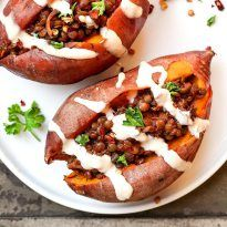 Meet your new favorite dish, sweet potatoes filled with barbecue lentils. This recipehas beena regular in our house lately, we had it twice this week! The baked sweet potatoes are supersoft on the inside, topped with spicy-sweet-smoky green lentils and drizzled with tahini sauce. It results in a combination of flavors and texture that I...Read More »