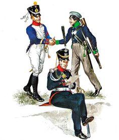 """Nassau and Oldenburg""   • Fusilier sergeant, 129th 'Frech' Line Infantry Regiment, 1812  • Private, Freiwillige Jäger Detachment of the Regiment Oldenburg, field dress  • Officer, Regiment Oldenburg, winter parade dress, 1814"