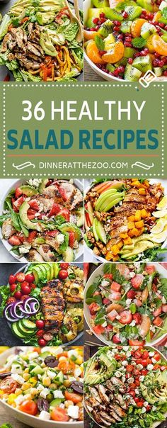 These healthy salad recipes are perfect for anyone looking to add a little more nutrition to their diet! There's a wide variety of green salads chopped salads detox salads colorful fruit salads chicken salads seafood salads and plenty more healthy of Salad Recipes For Dinner, Healthy Salad Recipes, Detox Recipes, Healthy Snacks, Healthy Eating, Detox Meals, Vegetarian Salad, Healthy Fruit Salads, Healthy Salad For Lunch