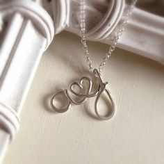 Couples Initials Necklace Sterling Silver Letters by KianDesigns