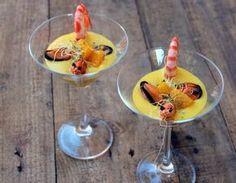 Gazpacho de mandarina con mejillones y langostinos 5