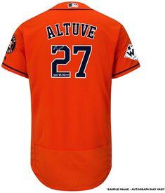 29de3ac9cf965 Houston Astros Jose Altuve Fanatics Authentic 2017 MLB World Series  Champions Autographed Majestic World Series Orange Authentic Jersey with  2017 WS Champs ...