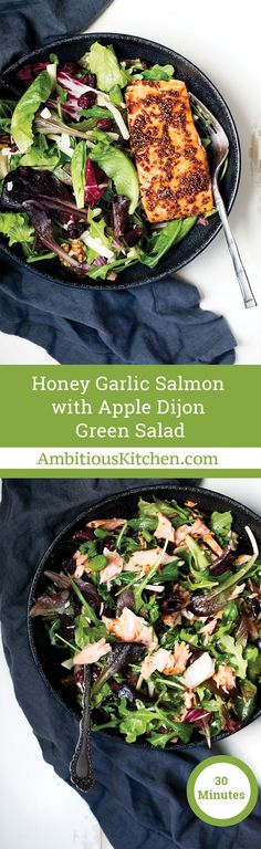 You only need 30 minutes to make this amazing honey garlic salmon paired with Dole's new fabulous organic Apple Dijon Salad!