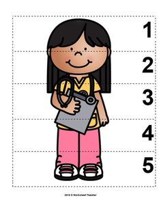 Numbers 1 to 5 Freebie - bardak Community Helpers Worksheets, Community Helpers Preschool, Math Activities, Toddler Activities, Preschool Activities, Community Workers, Number Sequence, Infant Classroom, Human Body Unit