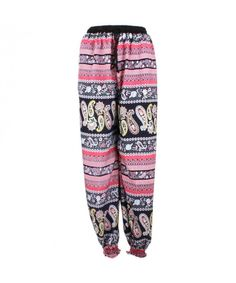 LOUDelephant Ali Baba Trousers - Black & Pink Paisley