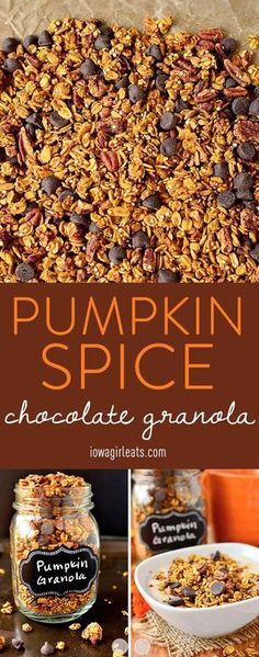 Pumpkin Spice Chocolate Granola is just sweet enough and spiced with the unmistakable flavors of fall, with a hint of dark chocolate. Gluten-free and refined-sugar-free, too! #glutenfree | iowagirleats.com