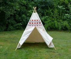 NEW XXL Canvas Teepee Tent Serape decor Bamboo di TheCuckooClocks