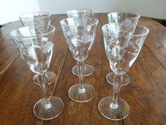 Vintage Etched Crystal Cordials, Set of 6 MINT