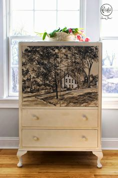 The first Painter In Residence project by Karen Donnelly is a sophisticated, tonal landscape on a small cabinet using Old Ochre, Coco, Old White and Graphite Chalk Paint® decorative paint by Annie Sloan | Via The Palette Blog
