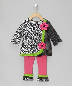 Take a look at this Black & White Zebra Tunic & Leggings - Infant by Rare Editions on #zulily today!