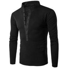 $11.37 Spliced Grandad Collar Long Sleeve T-Shirt