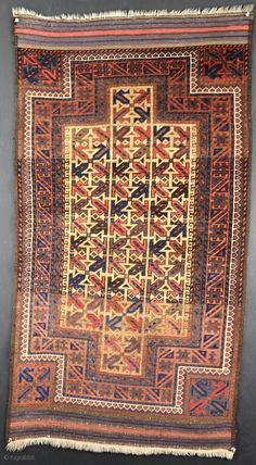 Finely woven Baluch double niche rug with shiny wool and good dyes. Kilim Rugs, Tribal Rug, Rugs, Asian Rugs, Carpet, Rugs On Carpet, Woven, Prayer Rug, Bohemian Rug