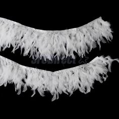2 Yds Dyed White Turkey Feather Fringe Trim Craft Sewing Millinery Costume
