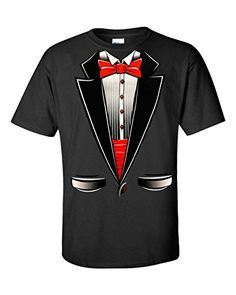 Fresh Tees� Brand- Tuxedo With Bowtie T-Shirt Funny Shirts (Large  Black)