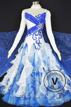 Holiday Sales Event Start from $299, Ends 01/01/2017 Free World Wide Shipping Blue and White Women Ballroom Tango Waltz Quickstep Smooth Standard Ballroom Competition Dress