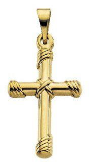 New Solid 14k Yellow Gold Christian Cross Pendant *** You can get more details by clicking on the image.