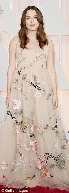 Flower power: Pregnant Keira Knightley was the centre of attention at the 2015 Oscars thanks to yet another floral dress