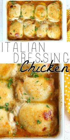 BAKED CHICKEN WITH ITALIAN DRESSING - Italian Dressing Chicken made with only two ingredients is a simple and mouth wateringly delicious dish with juicy baked chicken thighs smothered in a tangy marinade. Baked Chicken Italian Dressing, Italian Chicken Thigh Recipe, Italian Dressing Marinade, Italian Dressing Recipes, Easy Chicken Thigh Recipes, Italian Chicken Recipes, Baked Chicken Recipes, Chicken Dressing, Turkey Recipes