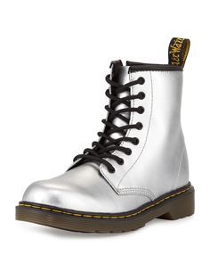 Delaney Metallic Leather Military Boot, Silver, Youth, Size: 13 - Dr. Martens