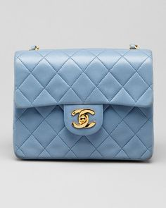 Chanel Light Blue Mini Quilted Leather Flap Bag
