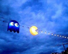 Pac-Man Street Lights in Geneva Switzerland.  This would be awesome for Christmas light decorations.