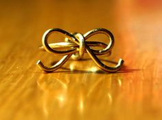 Gold Plated Wire Bow Ring by CraftedForACause on Etsy, $4.00