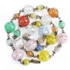 Vintage Art Deco Rainbow Sommerso Murano Glass Bead Necklace | Clarice Jewellery | Vintage Costume Jewellery