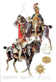 """British """"heavy cavalry"""", the Royal Horse Guards, or Blues (top), and the Life Guards. All of the British heavy cavalry wore red except the Horse Guards, hence their nickname. British Army Uniform, British Uniforms, British Soldier, Battle Of Waterloo, Waterloo 1815, Empire, Bataille De Waterloo, Royal Marines, Napoleonic Wars"""
