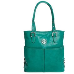 Kim Rogers Emerald Green Bleeker North South Tote (46 CAD) ❤ liked on Polyvore featuring bags, handbags, tote bags, emerald green, blue tote bag, kim rogers handbags, shoulder strap handbags, emerald green handbag and handbags tote bags